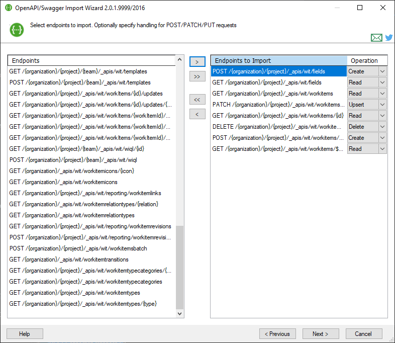 Select endpoints to import