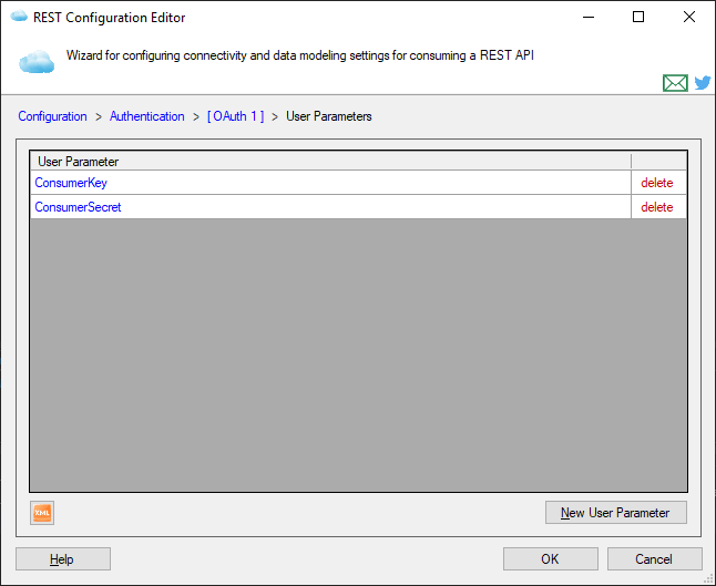 User-specified Parameters List Page